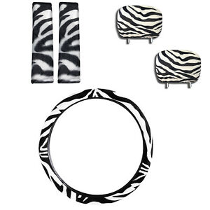 5pc Combo Zebra Print Shoulder Pads W Headrest Steering Wheel Cover