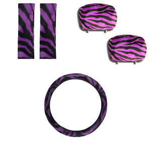 5pc Combo Purple Zebra Print Shoulder Pads W Headrest Steering Wheel Cover