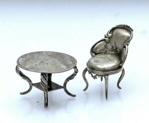Miniature Sterling Doll House Furniture Table And Chair