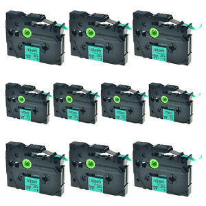 10pk Tz 721 Black On Green Label Tape Laminated 9mm Tze 721 For Brother P touch