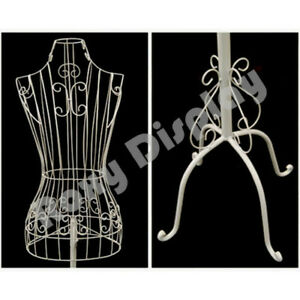 Female Metal Wire Dress Form white Adjustable Height Wire Frame Dress Form