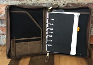 Day Timer Planner 7 ring Zippered Binder Brown Simulated Cowhide