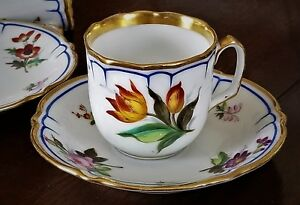 Cup Saucer 3 Rose French Porcelain Vieux Old Paris Rococo C1850
