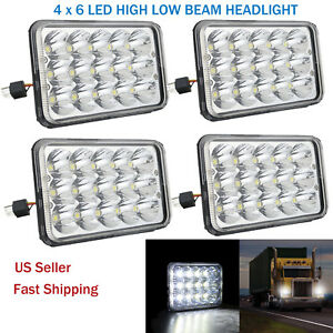 4pcs 4x6 Cree Led Headlights Hi lo H4656 4651 For Gmc Jimmy Sonoma Chevrolet