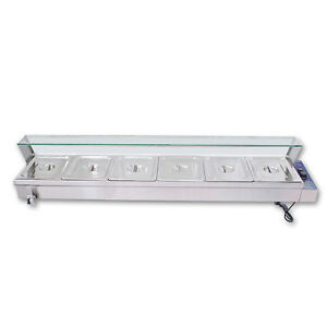 67 Kitchen 6 pan Food Warmer Bain Marie Restaurant Steam Table