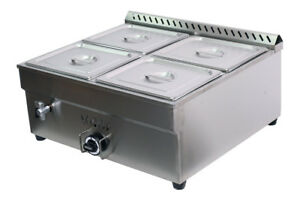 27 4in 4 pan Propane Bain marie Buffet Food Warmer Steam Table 1 warmer 4 1 2pan