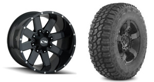 5 20x12 Ion 141 Gloss Black Wheels 35 Mt Tires Package 5x5 Jeep Wrangler Jk Jl