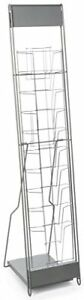 Portable Literature Stand 10 Pockets Steel Silver 8 5 X 11 Magazines Or Catalogs