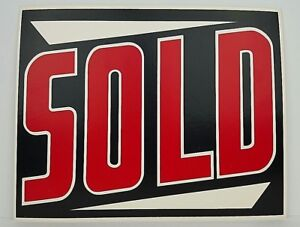 Vintage Thick Wax Paper Sold Sign Business Great Graphics Single Sided 14x11 Nos