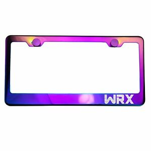 Polish Neo Neon Chrome License Plate Frame Wrx Laser Etched Metal Screw Cap