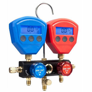 Digital Manifold Gauge 1 4sae 2 way Valve Temperature Seven Refrigerant Profiles