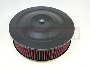 14 x4 Round Black Washable Red Air Cleaner Flat Base Sbc 350 Bbc 454 Hot Ratrod