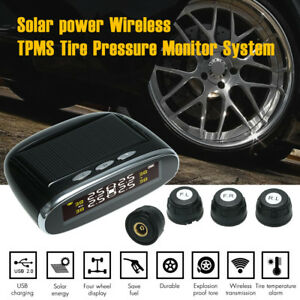 Tpms Solar Power Wireless Tire Pressure Monitor Security Alarm System Auto