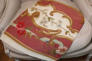 Antique French Aubusson Tapestry Fragment Roses Flowers