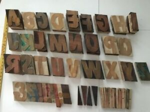 Wood Type Letterpress 5 Inch Balloon Font All Capital Letters Punctuation