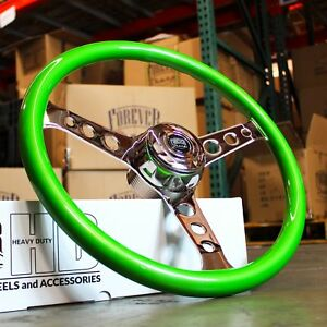 18 Green Steering Wheel Chrome 3 Spoke Freightliner Kenworth Peterbilt Volvo