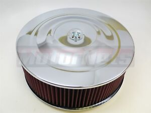 14 X5 Round Chrome Washable Red Air Cleaner Flat Sbc 350 Bbc 454 Street Rat Rod