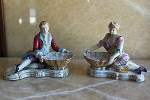Pair Of French Sevres Porcelain Figurine Mounted Bowls