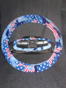 Patriotic Camo Fleece Steering Wheel And Rear View Mirror Set Clearance 9 50