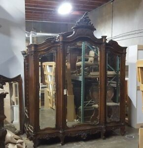 Antique Italian Walnut Louis Xv Armoire Large 3 Door