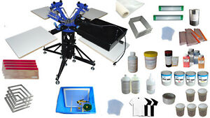 3 Color Screen Printing Kit 4 Station Screen Printer With Dryer Material Package