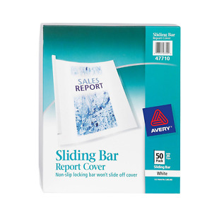 Avery Sliding Bar Clear Report Covers Pack Of 50 47710
