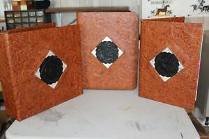 3 Pc Set Western Leather Portfolio 3 Ring Binder Day Planner Montana Silver