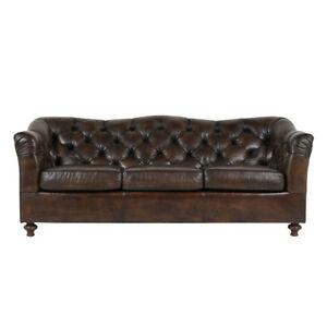 Unique 1970s 3 Person Sofa Chesterfield Style W Tufted Brown Leather