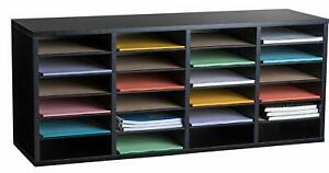 Adiroffice 24 Compartment Black Wood Adjustable Literature Organizer