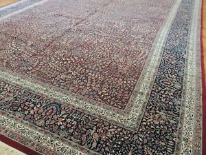 Antique Persian Style Lavar Kerman Shala 13x20 Oriental Area Rug Red
