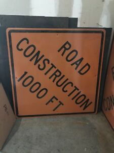 Road Construction Sign 1000 Feet 48 X 48 Relfective