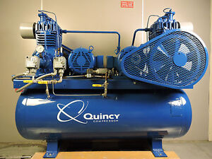 Quincy Air Compressor Duplex 10 Hp 208 230 460 Volts Electric Baldor Motor