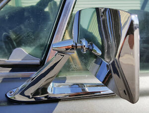 Chrome Metal Rectange Mirrors Classic Musclecar Vintage Universal Pair New