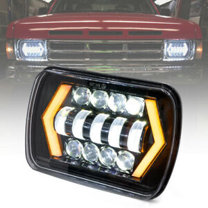 55w 7x6 5x7 Led Headlight H l Beam Halo Drl Turn Signal For Jeep Cherokee Xj