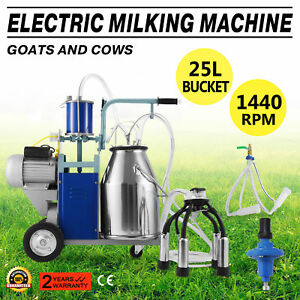 25l Electric Milking Machine For Goats Cows W bucket Sheep 12cows hour 1440rpm
