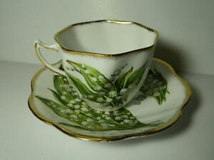 Rosina Fine Bone China Teacup Saucer Lily Of The Valley England