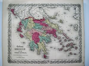 Colton Map Of Greece 1854 Original Hand Colored Steel Plate Engraved Map