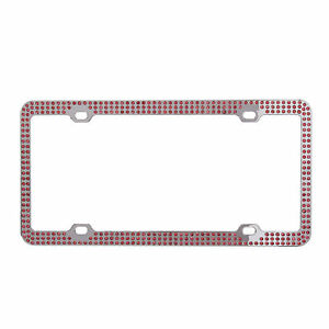 Diamond Plate Pink Rhinestone Triple Row Chrome Metal License Plate Frame 1pc