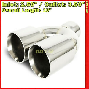 Universal Exhaust Tip Staggered Dual Polished 10 Inch Weld on 2 5 In 3 5 Out