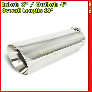 Exhaust Tip 214077 Stainless Truck Angled Polished 13 Inch Bolt on 3 In 4 Out