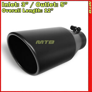 Exhaust Tip 214055 Stainless Truck Angled Black 12 Inch Bolt on 3 In 5 Out