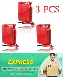 Jerry Can 5 Gallon 20l Gas Storage Tank Can Emergency Backup Steel Metal Red 3pc