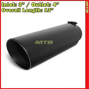 Exhaust Tip 214192 Stainless Truck Angled Black 13 Inch Bolt on 3 In 4 Out