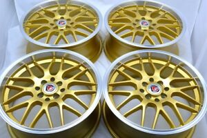 17 Gold Wheels Rims Xb G3 G5 Protege Civic Accord Integra Spark Tl 4x100 4x114 3
