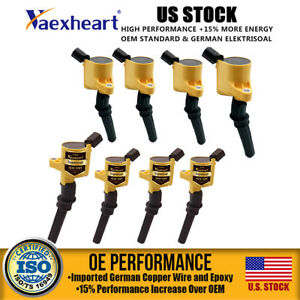 Pack Of 8 Engine Ignition Coil For Ford F 150 V8 V10 Dg508 F150 2004 2008 Yellow