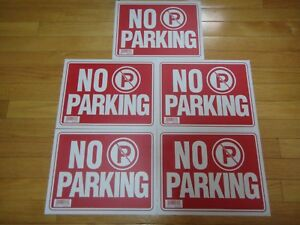 5x Red White Flexible Plastic no Parking Sign 9 X 12 Inch Us Seller