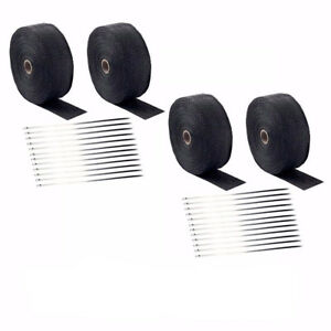 4 Pcs 2 50ft Fiberglass Exhaust Header Pipe Heat Wrap Tape 20 Ties Kit Black