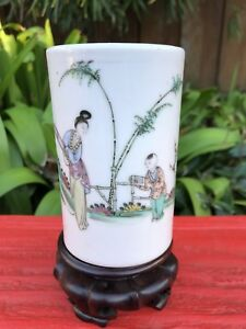 Antique Chinese Brush Pot Hand Painted By Famous Artist Yu Yuan Sheng Marked