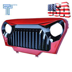 Front Red Gloss Black Angry Bird Grille Grill For Jeep Wrangler Tj 1997 2006