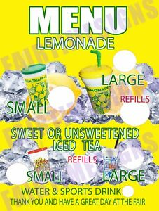 Lemonade Menu Sign W price Circles Concession Trailer stand cart 18 X 24 Pvc